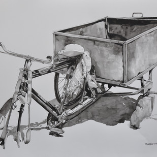 rickshaw study by Mohammed Osman, Impressionism Painting, Watercolor on Paper, Gray color