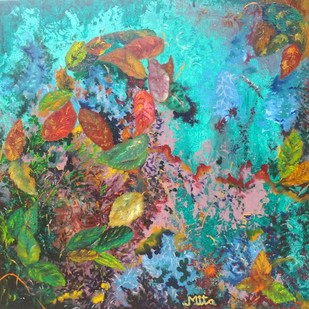 LEAF STORM by Mita Brahma, Impressionism Painting, Oil & Acrylic on Canvas, Green color
