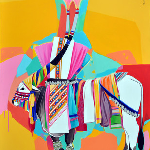 Gangireddu Digital Print by Mohammed Osman,Pop Art