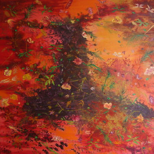 LEAF SONG by Mita Brahma, Impressionism Painting, Oil & Acrylic on Canvas, Brown color