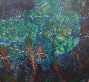 NIGHTFALL by Mita Brahma, Impressionism Painting, Oil & Acrylic on Canvas, Green color