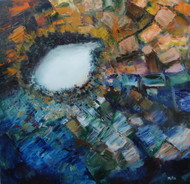 TREASURE by Mita Brahma, Impressionism Painting, Oil & Acrylic on Canvas, Blue color