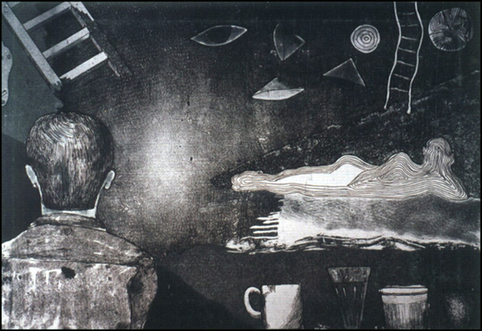 Thinking by Pranjal Bhuyan, Expressionism, Surrealism Printmaking, Etching and Aquatint, Gray color