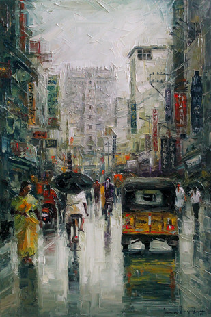 Madurai Wet St by Iruvan Karunakaran, Impressionism Painting, Oil on Canvas, Gray color