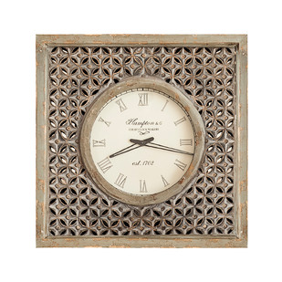 Wooden Carved Wall Clock by CellarDoor, Contemporary Wall Decor, Wood, White color