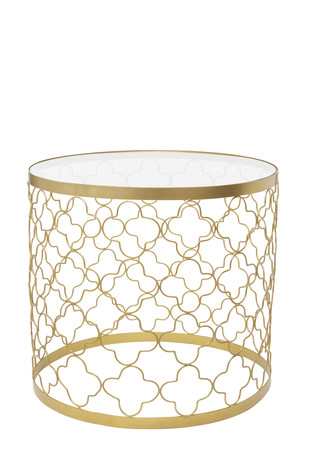 Circular Patterned Table (Glass Top) by CellarDoor, Contemporary Furniture, Metal, White color