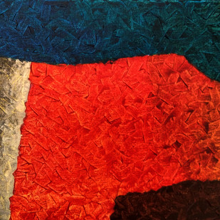 Fractal Dimensions . Affinity by Jaikishan Tada, Abstract Painting, Acrylic on Canvas, Red color