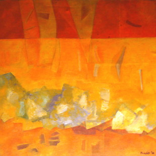 Yellow river by Pradip Chaudhuri, Abstract Painting, Acrylic on Canvas, Orange color