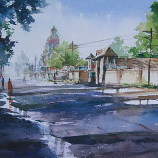 Sunday Morning by Mopasang Valath, Impressionism Painting, Watercolor on Paper, Blue color
