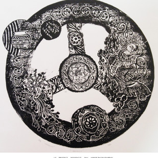 Protect by ashok pachaiyappan, Decorative Printmaking, Wood Cut on Paper, Gray color