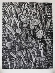 Butterflies by ashok pachaiyappan, Decorative Printmaking, Wood Cut on Paper, Gray color