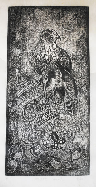 The King by ashok pachaiyappan, Decorative Printmaking, Wood Cut on Paper, Gray color