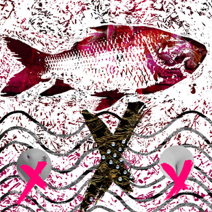 The Holy Fish and The couple by Sayak Mitra, Digital Digital Art, Digital Print on Archival Paper, Pink color