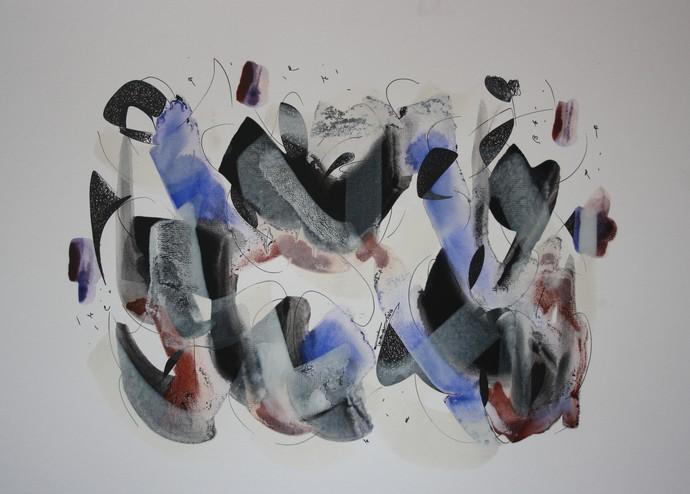 celebration by Punkaj Manav, Abstract Painting, Acrylic on Board, Gray color