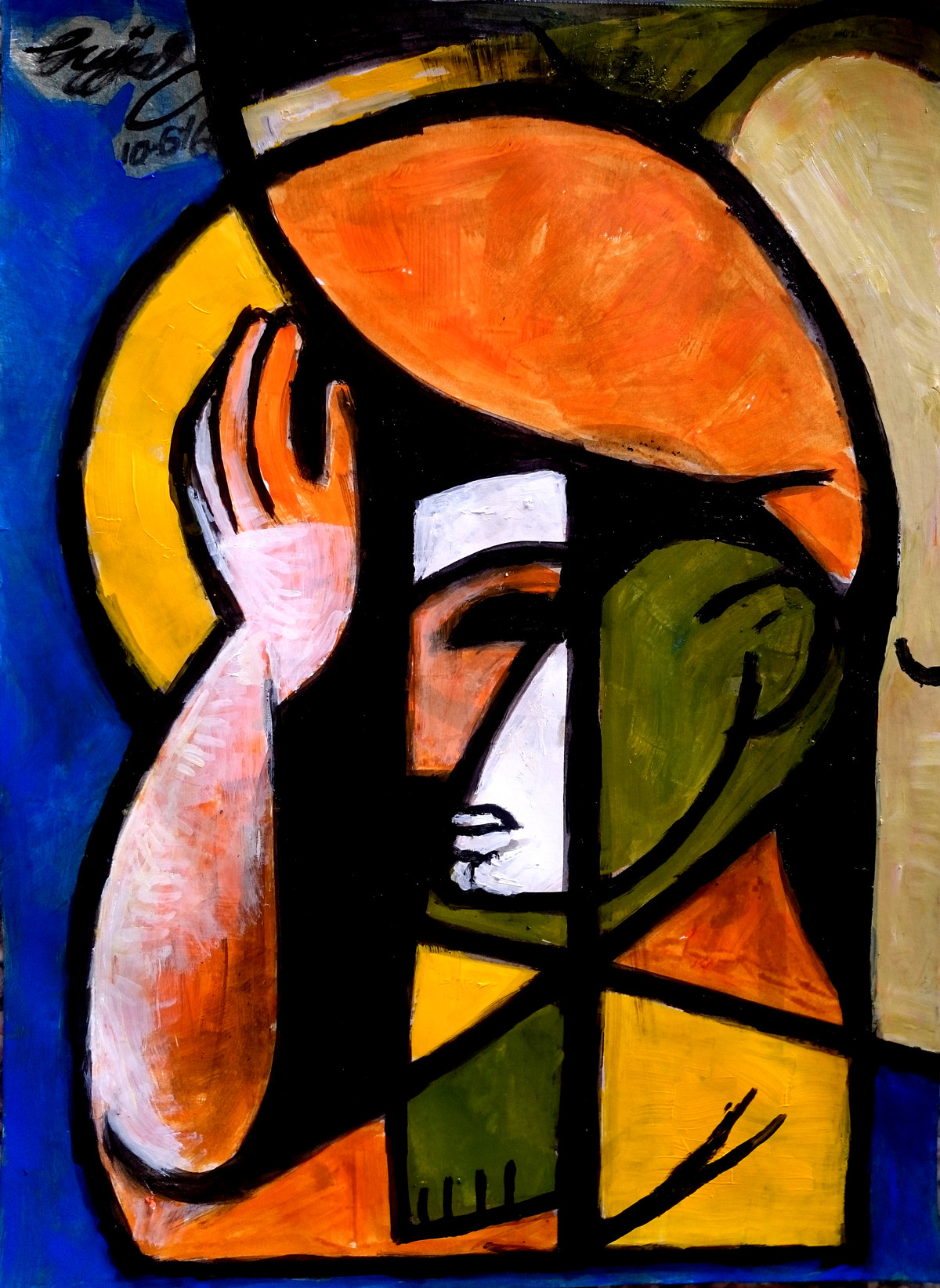 burden by Gujjarappa B G, Traditional Painting, Acrylic & Ink on Paper, Brown color