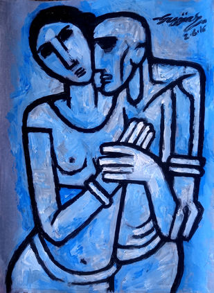 Couple in blue Digital Print by Gujjarappa B G,Traditional