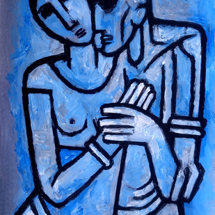 Couple in blue by Gujjarappa B G, Traditional Painting, Acrylic & Ink on Paper, Blue color
