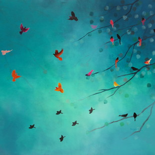 The song of divine sky by Priyanka Waghela, Decorative Painting, Acrylic on Canvas, Cyan color
