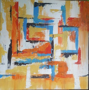 Untitled by Taru Shikha, Abstract Painting, Acrylic on Canvas, Beige color