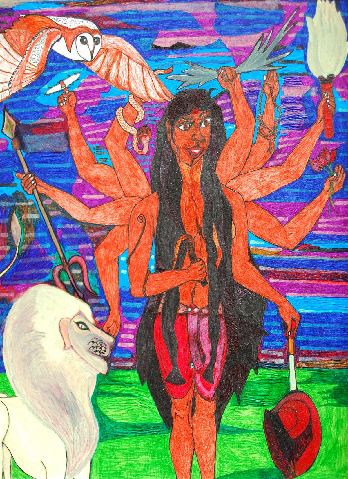 Durga by Oeishik, Fantasy Drawing, Mixed Media, Brown color