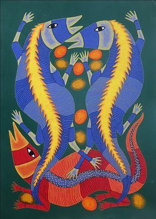 Gond Painting Artwork By Bhajju Shyam