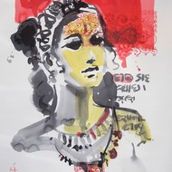 Vinita dasgupta 26in x 20in water colour on paper 2012 signed lower left