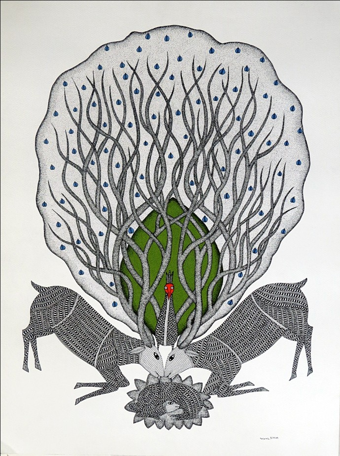 Gond Painting by Bhajju Shyam, Folk Painting, Acrylic on Paper, Gray color
