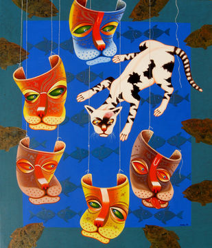 RELATION VII by SK NUR ALI, Decorative Painting, Acrylic on Canvas, Blue color
