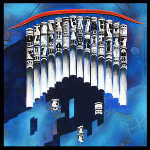 Life on Chime by Shovin Bhattacharjee, Decorative Painting, Acrylic on Canvas, Blue color
