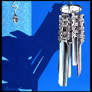 Chimes Society by Shovin Bhattacharjee, Decorative Painting, Acrylic on Canvas, Blue color