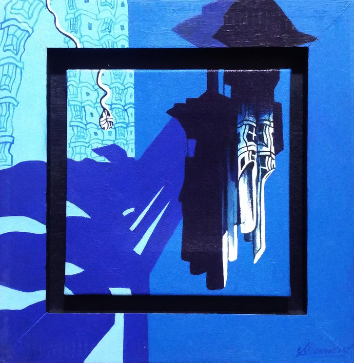 Chimes world by Shovin Bhattacharjee, Decorative Painting, Acrylic on Canvas, Blue color