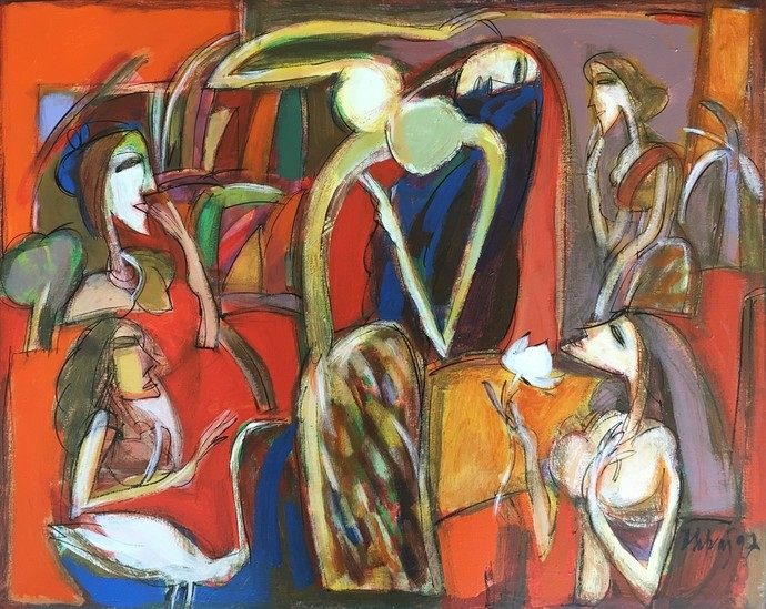 Untitled by Dhiraj Choudhury, Expressionism Painting, Oil on Canvas, Brown color