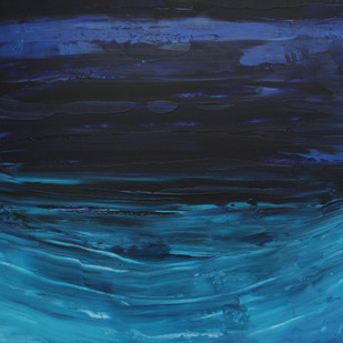 Otherside by Deepanshu Joshi, Expressionism Painting, Acrylic on Canvas, Blue color