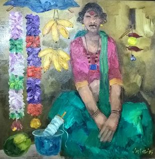 Untitled by J M S Mani, Impressionism Painting, Oil on Canvas, Green color