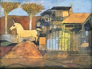The Unicorn by Badri Narayan, Fantasy Painting, Watercolor on Paper, Brown color