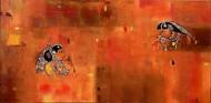 dancer by Gita Hudson, Expressionism Painting, Oil on Canvas, Orange color