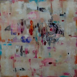 from the past by Gita Hudson, Abstract Painting, Oil on Canvas, Brown color