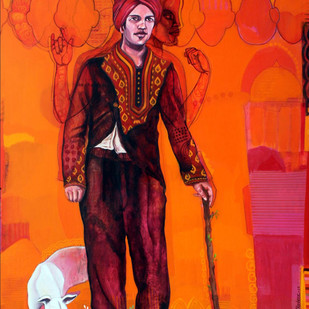 untitled by Hifzul Sheikh, Expressionism Painting, Acrylic on Canvas, Orange color