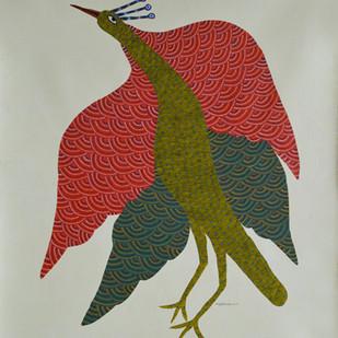 Untitled by Nankusiya Shyam, Folk Painting, Acrylic on Canvas, Beige color