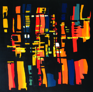 City lights by Vishwesh, Abstract Painting, Acrylic on Canvas, Brown color