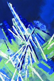 Lasers by Vishwesh, Abstract Painting, Acrylic on Canvas, Blue color