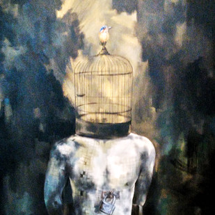 Unlocked by Shambhu Nath Goswami, Fantasy Painting, Acrylic on Canvas, Gray color