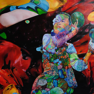 Flights of Imagination Aanand II by Shikha Rajoria, Expressionism Painting, Oil on Canvas, Brown color