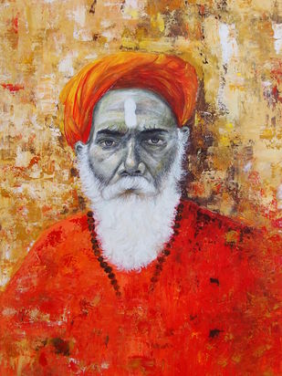 Ram Dutt by Radhika Surana, Impressionism Painting, Acrylic & Graphite on Canvas, Red color
