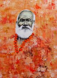 Megh Raj by Radhika Surana, Impressionism Painting, Acrylic & Graphite on Canvas, Brown color