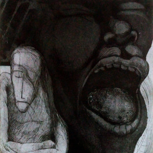 Ups and Down 1 by Pranjal Bhuyan, Decorative, Expressionism Printmaking, Etching and Aquatint, Gray color