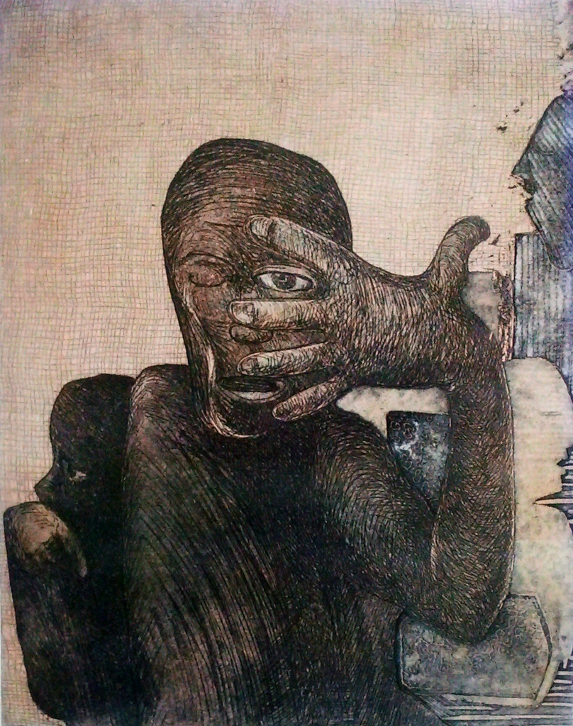 Ups and Down 2 by Pranjal Bhuyan, Decorative Printmaking, Etching and Aquatint, Beige color