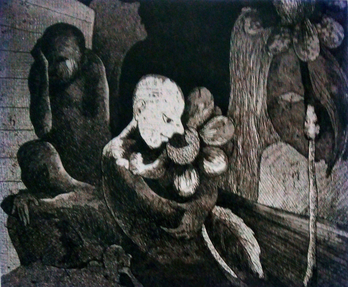 Ups and Down 4 by Pranjal Bhuyan, Decorative Printmaking, Etching and Aquatint, Gray color