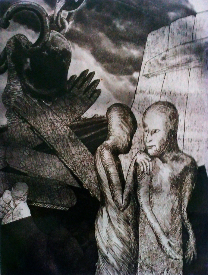 Ups and Down 6 by Pranjal Bhuyan, Expressionism Printmaking, Etching and Aquatint, Gray color