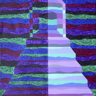 Objectify - Portal by Srushti Rao, Op Art Painting, Acrylic on Canvas, Blue color